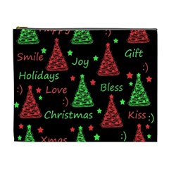 New Year Pattern   Red And Green Cosmetic Bag (xl)