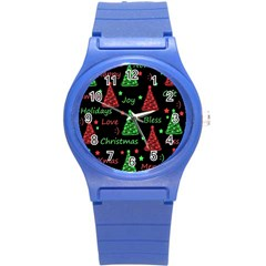 New Year Pattern   Red And Green Round Plastic Sport Watch (s) by Valentinaart