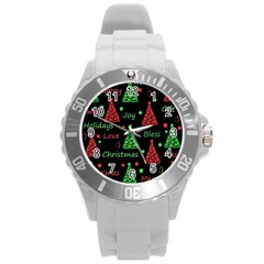 New Year Pattern   Red And Green Round Plastic Sport Watch (l) by Valentinaart