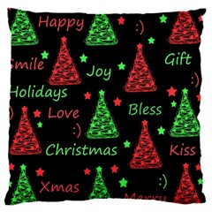 New Year Pattern   Red And Green Large Cushion Case (one Side)