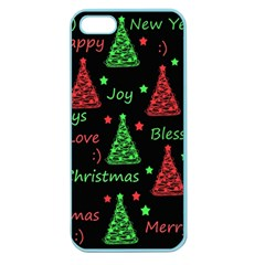 New Year Pattern   Red And Green Apple Seamless Iphone 5 Case (color) by Valentinaart
