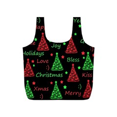 New Year Pattern   Red And Green Full Print Recycle Bags (s)  by Valentinaart