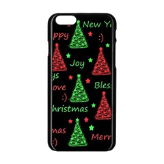 New Year Pattern   Red And Green Apple Iphone 6/6s Black Enamel Case by Valentinaart