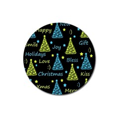 New Year Pattern   Blue And Yellow Magnet 3  (round)