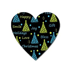 New Year Pattern   Blue And Yellow Heart Magnet by Valentinaart