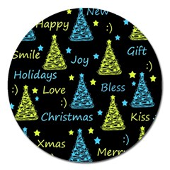 New Year Pattern   Blue And Yellow Magnet 5  (round)