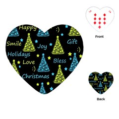 New Year Pattern   Blue And Yellow Playing Cards (heart)  by Valentinaart