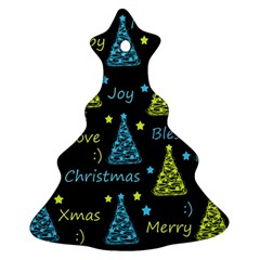 New Year Pattern   Blue And Yellow Ornament (christmas Tree) by Valentinaart