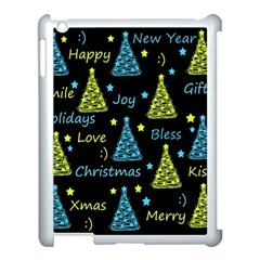 New Year Pattern   Blue And Yellow Apple Ipad 3/4 Case (white) by Valentinaart