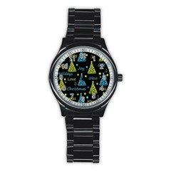 New Year Pattern   Blue And Yellow Stainless Steel Round Watch by Valentinaart