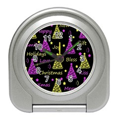 New Year Pattern   Yellow And Purple Travel Alarm Clocks by Valentinaart