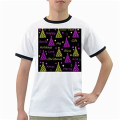 New Year Pattern   Yellow And Purple Ringer T Shirts