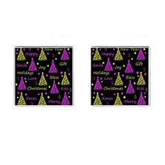 New Year Pattern   Yellow And Purple Cufflinks (square) by Valentinaart