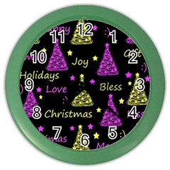New Year Pattern   Yellow And Purple Color Wall Clocks by Valentinaart