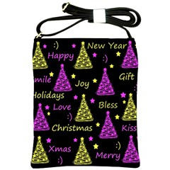 New Year Pattern   Yellow And Purple Shoulder Sling Bags by Valentinaart