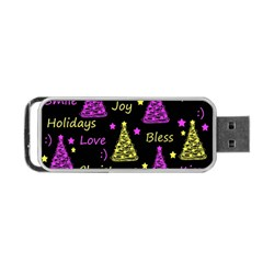 New Year Pattern   Yellow And Purple Portable Usb Flash (one Side) by Valentinaart