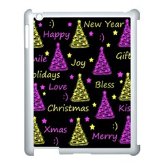 New Year Pattern   Yellow And Purple Apple Ipad 3/4 Case (white) by Valentinaart