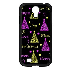New Year Pattern   Yellow And Purple Samsung Galaxy S4 I9500/ I9505 Case (black) by Valentinaart
