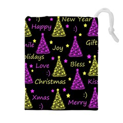 New Year Pattern   Yellow And Purple Drawstring Pouches (extra Large) by Valentinaart