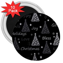 New Year Pattern   Gray 3  Magnets (10 Pack)