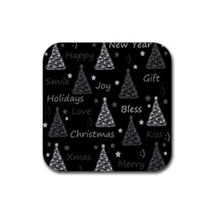New Year Pattern   Gray Rubber Square Coaster (4 Pack)  by Valentinaart
