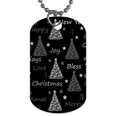 New Year Pattern - Gray Dog Tag (two Sides) by Valentinaart