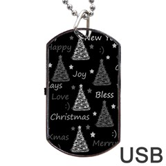 New Year Pattern   Gray Dog Tag Usb Flash (one Side) by Valentinaart