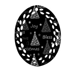 New Year Pattern   Gray Oval Filigree Ornament (2 Side)  by Valentinaart