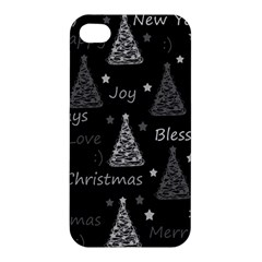 New Year Pattern   Gray Apple Iphone 4/4s Premium Hardshell Case by Valentinaart