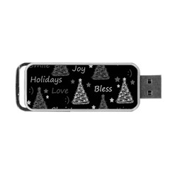New Year Pattern   Gray Portable Usb Flash (two Sides) by Valentinaart