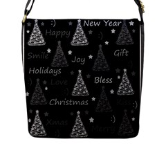 New Year Pattern   Gray Flap Messenger Bag (l)  by Valentinaart