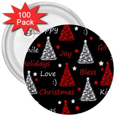 New Year Pattern   Red 3  Buttons (100 Pack)  by Valentinaart