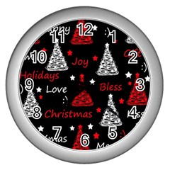 New Year Pattern   Red Wall Clocks (silver)  by Valentinaart