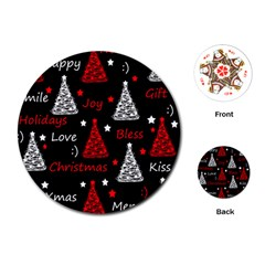 New Year Pattern   Red Playing Cards (round)  by Valentinaart