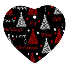 New Year Pattern - Red Heart Ornament (2 Sides) by Valentinaart