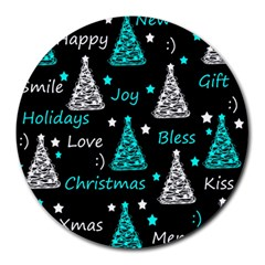 New Year Pattern   Cyan Round Mousepads by Valentinaart