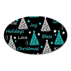 New Year Pattern   Cyan Oval Magnet by Valentinaart