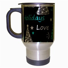 New Year Pattern   Cyan Travel Mug (silver Gray) by Valentinaart
