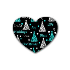 New Year Pattern   Cyan Rubber Coaster (heart)  by Valentinaart