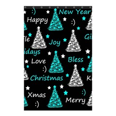 New Year Pattern   Cyan Shower Curtain 48  X 72  (small)
