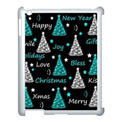 New Year Pattern   Cyan Apple Ipad 3/4 Case (white) by Valentinaart