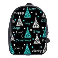 New Year Pattern   Cyan School Bags (xl)