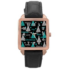 New Year Pattern   Cyan Rose Gold Leather Watch  by Valentinaart