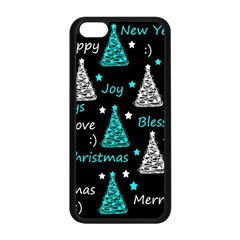 New Year Pattern   Cyan Apple Iphone 5c Seamless Case (black) by Valentinaart