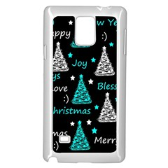 New Year Pattern   Cyan Samsung Galaxy Note 4 Case (white) by Valentinaart
