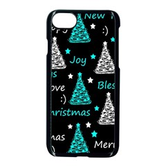 New Year Pattern   Cyan Apple Iphone 7 Seamless Case (black) by Valentinaart