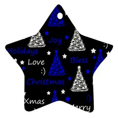 New Year Pattern   Blue Ornament (star)  by Valentinaart