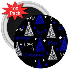 New Year Pattern   Blue 3  Magnets (100 Pack) by Valentinaart