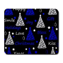 New Year Pattern   Blue Large Mousepads by Valentinaart