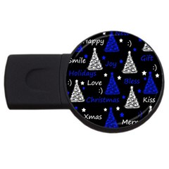 New Year Pattern   Blue Usb Flash Drive Round (2 Gb)  by Valentinaart